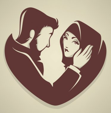 Muslim love, couple, wedding, bride and groom stock vector