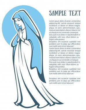 vector illustration of praying virgin Mary