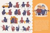 happy retirement: vector collection of old people symbol