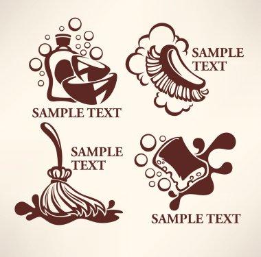 cleaning emblems, logo, symbols