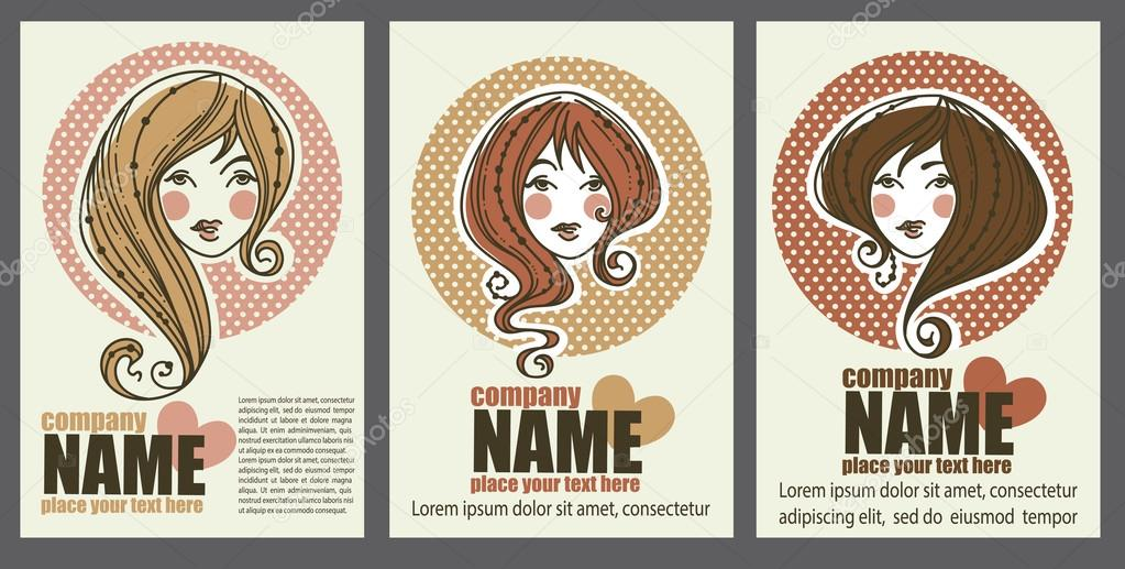 vector collection of business cards for beauty salon, hairdresse ...