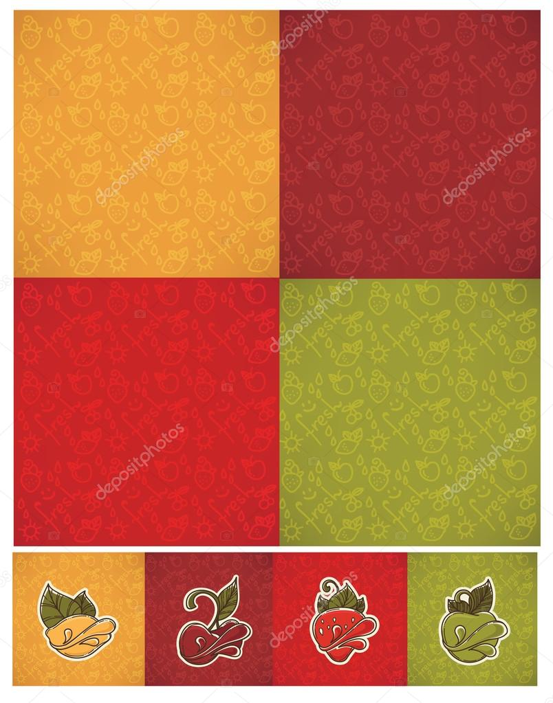 vector collection of fresh hand drawn fruits and berries ornamen