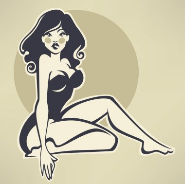 sexy pinup girl on beige background