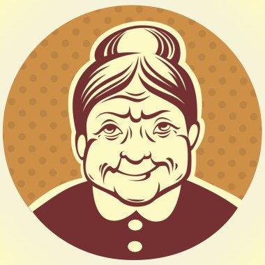vector portrait of lovely grandmother