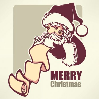 Santa Claus image in cartoon style. Vector illustration for greeting Christmas card. clip art vector