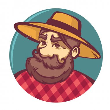 funny farmer portrait, vector image