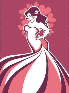 vector greeting card with image of plus size romantic bride