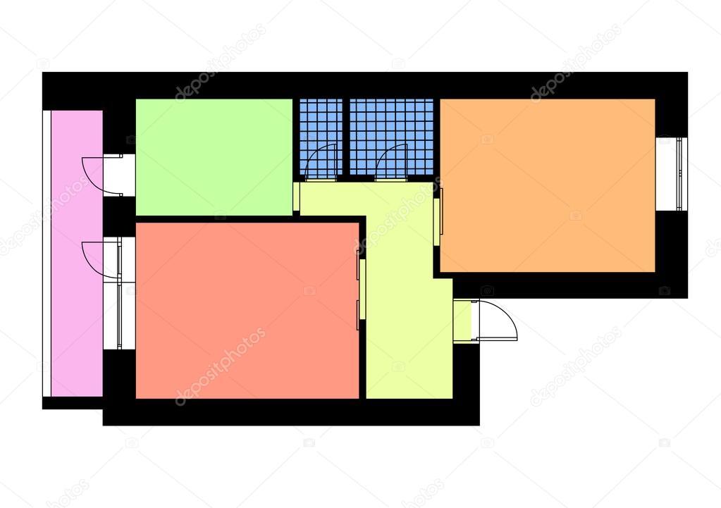 Plattegrond appartement met een slaapkamer in felle kleuren ...