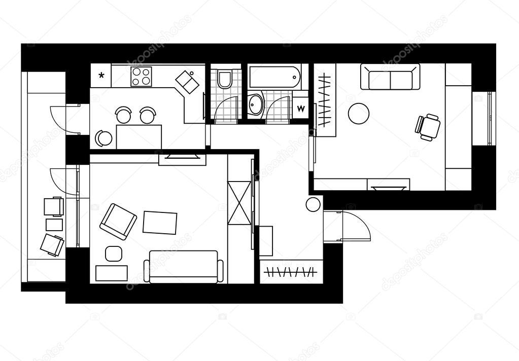Tekening plan interieur van het appartement met 1 slaapkamer stockvector ptits ptits 75911733 - Van plan interieur ...