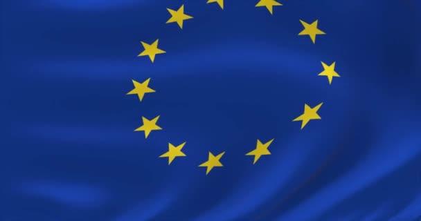 Official EU flag. European Union Flag. Waved highly detailed flag animation.