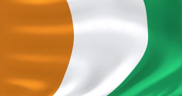 Flags of the world - flag of Cote Ivoire. Waved highly detailed flag animation.