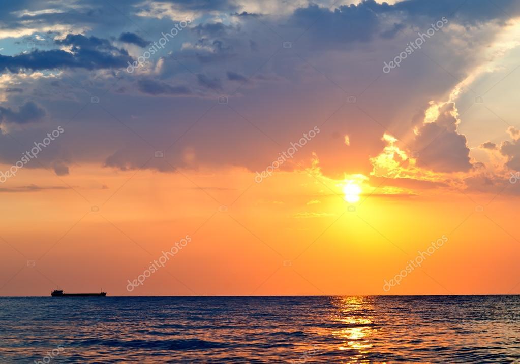 sunset under sea, beautiful sunset