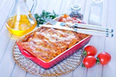Tasty lasagna in bowl