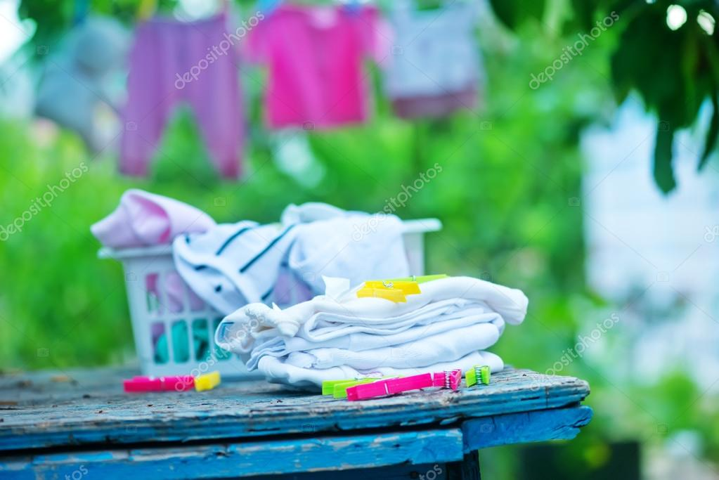 Baby clothes in garden