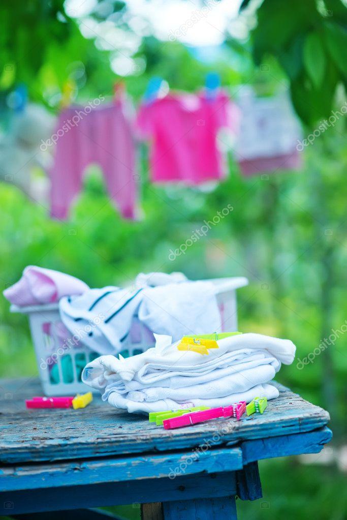 Baby clothes in garden