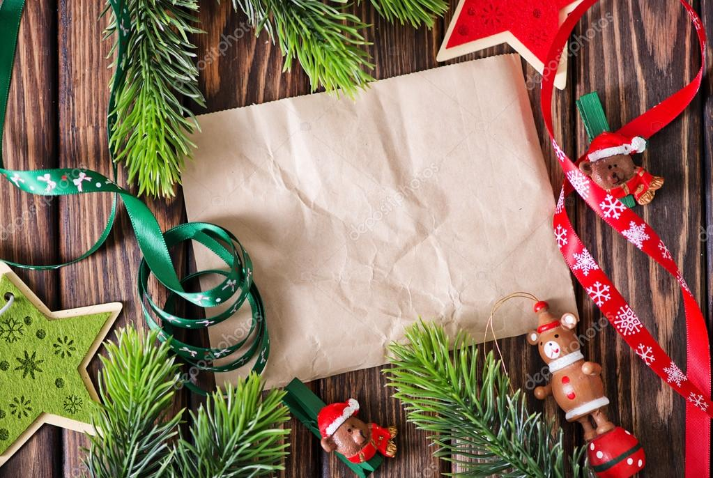 Christmas Decorations And Old Paper Stock Photo C Tycoon
