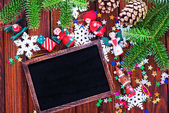 Black board and christmas decorations