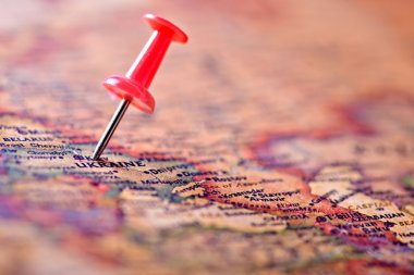 ancient map  and pin