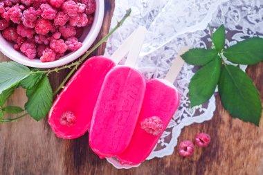 ice cream and raspberries