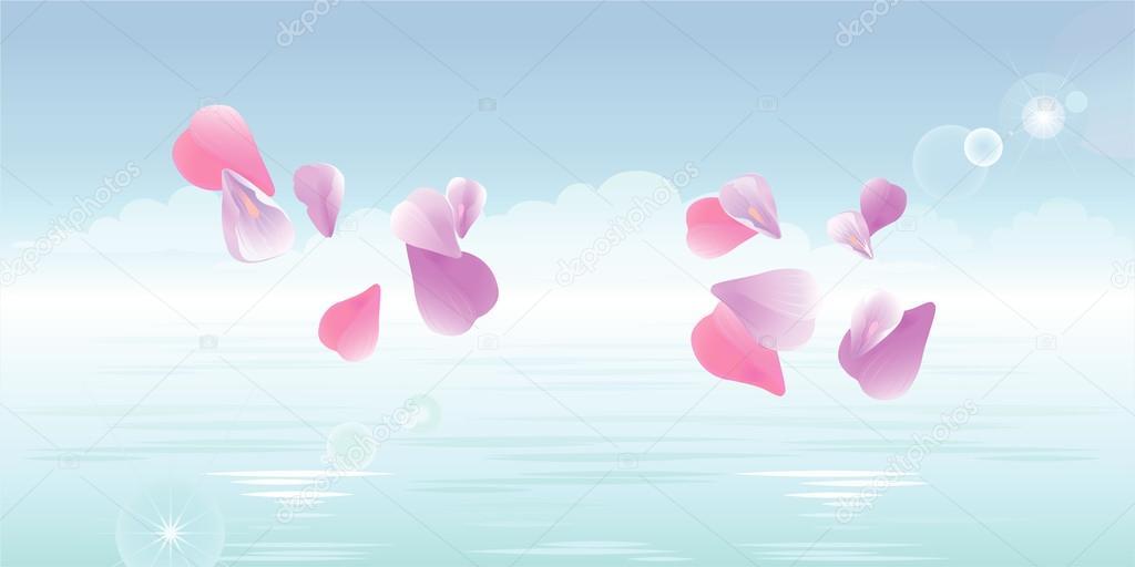 Pink petals falling in water. Sakura petals. Vector