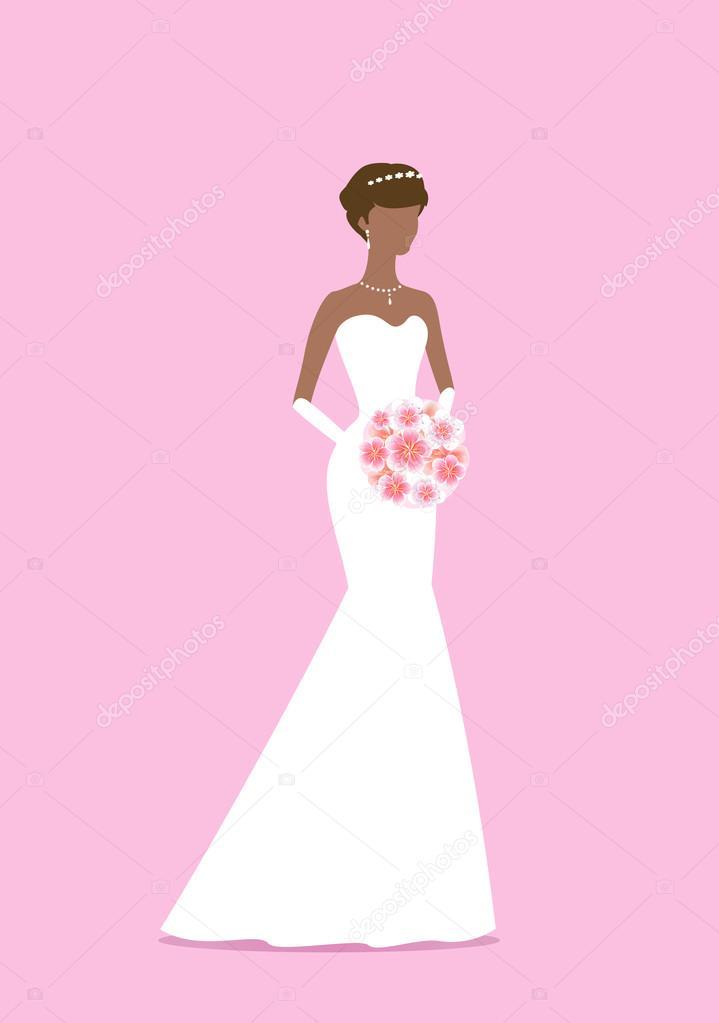 Hermosa novia con un ramo de flores. Mujer afroamericana. Silueta ...