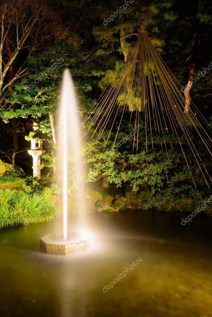 Kenrokuen Garden at night in Kanazawa, Japan