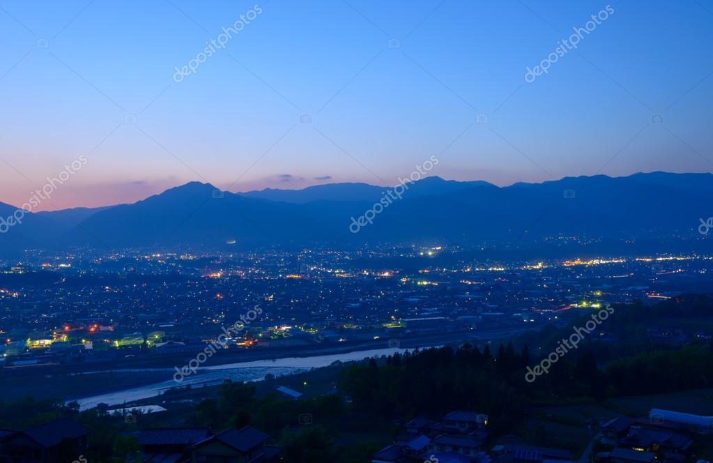 Iida city at dusk