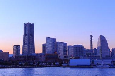 Minatomirai 21 area at dusk in Yokohama, Japan