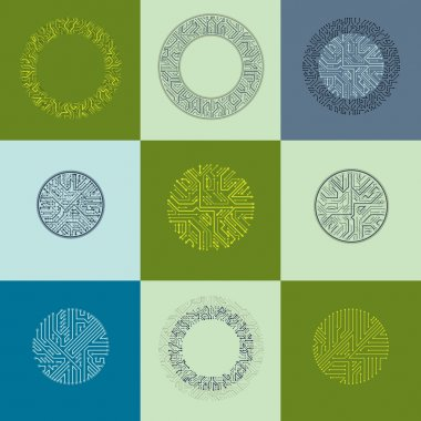 Set of vector abstract technology elements