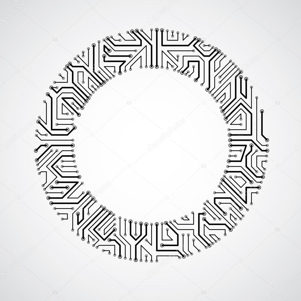 round monochrome circuit board  u2014 stock vector