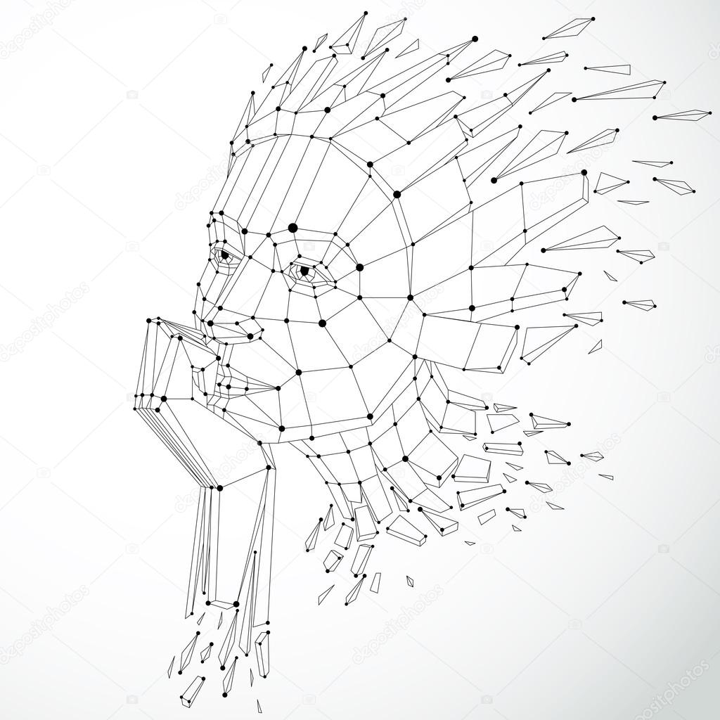 Black and white wireframe human head — Stock Vector © Ostapius ...