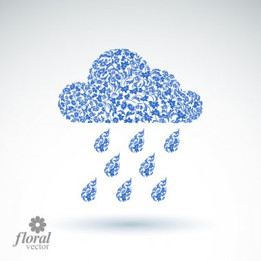 Weather forecast vector icon, meteorology flower-patterned symbol. Cold season  abstract pictogram, storm cloud with falling rain drops. clip art vector