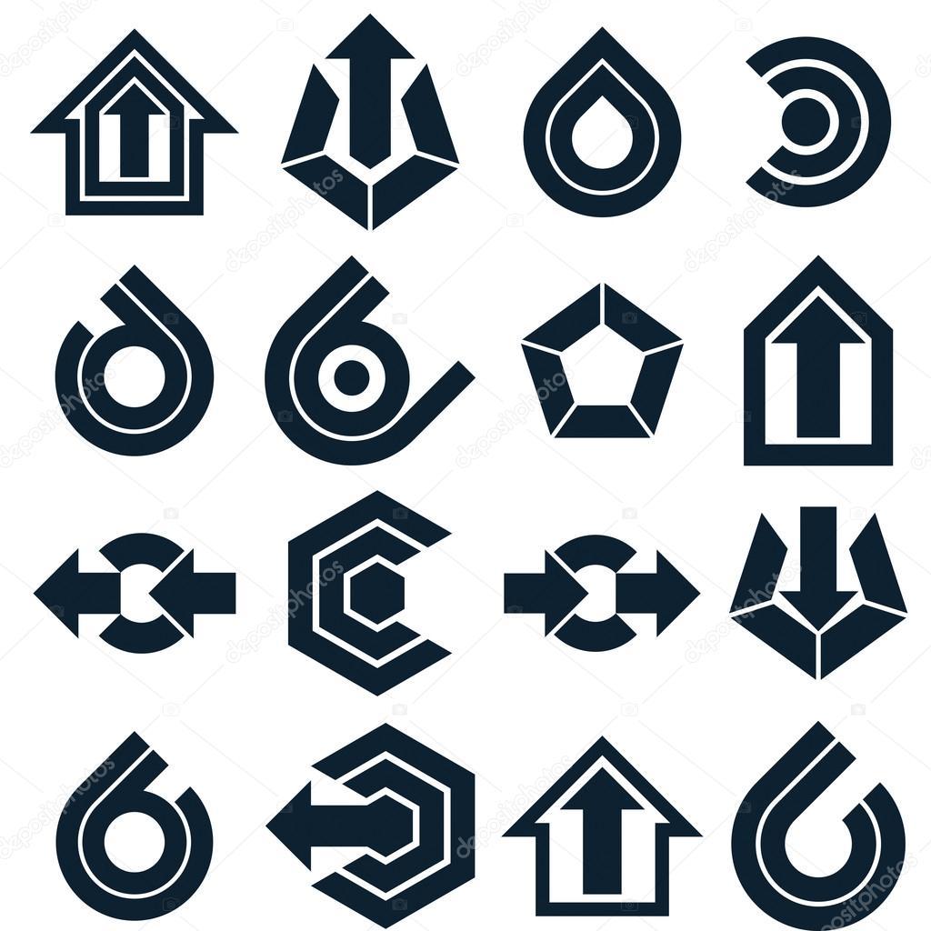 Black Abstract Icons Set Stockvektor C Ostapius 118577776