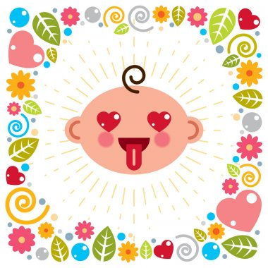 Cute baby cartoon vector flat icon, adorable happy and smiling child emoji. With nice childish frame of flowers, hearts and leaves. icon