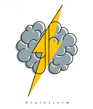 Brainstorm concept vector logo or icon, human brain and lightning bolt simple symbol, flat modern style. icon
