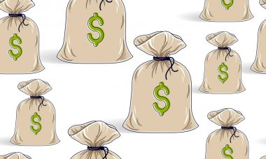 Money bags seamless background, backdrop for financial business website or economical theme ads and information, vector wallpaper or web site background. icon