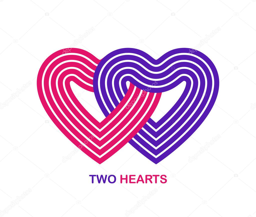 Two hearts linked to each other vector geometric linear logo isolated on white background  best emblem for charity or couple in live wedding or community or connection icon