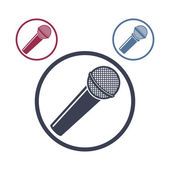 Photo Microphone icon isolated, 3 versions set.
