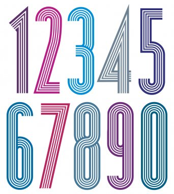 Geometric colorful numbers with straight lines.