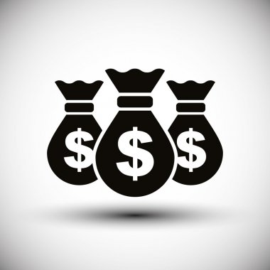 Money bags cash money vector simple single color icon.