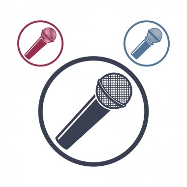 Microphone icon isolated, 3 versions set.