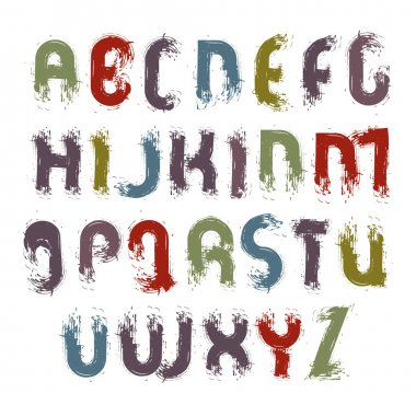 Vector acrylic alphabet capital letters set, hand-drawn colorful