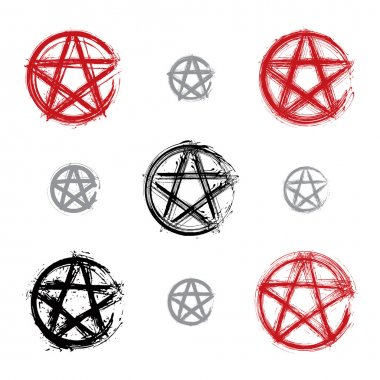 Set of hand drawn pentagram icons scanned and vectorized, collec