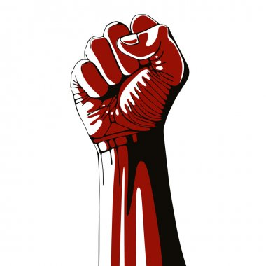 Clenched fist held high in protest.