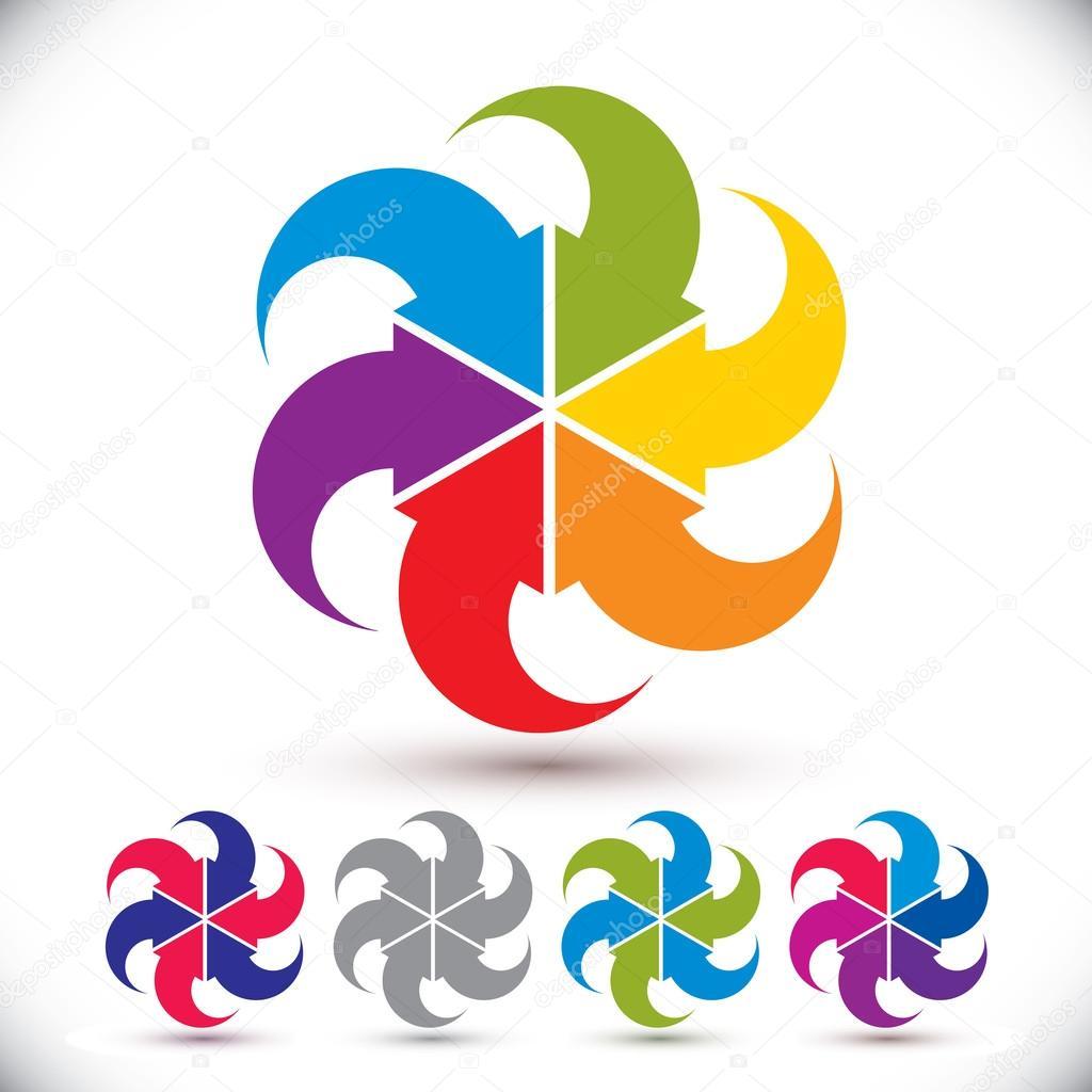 flechas conceptual abstracto plantilla símbolo, vector set ...