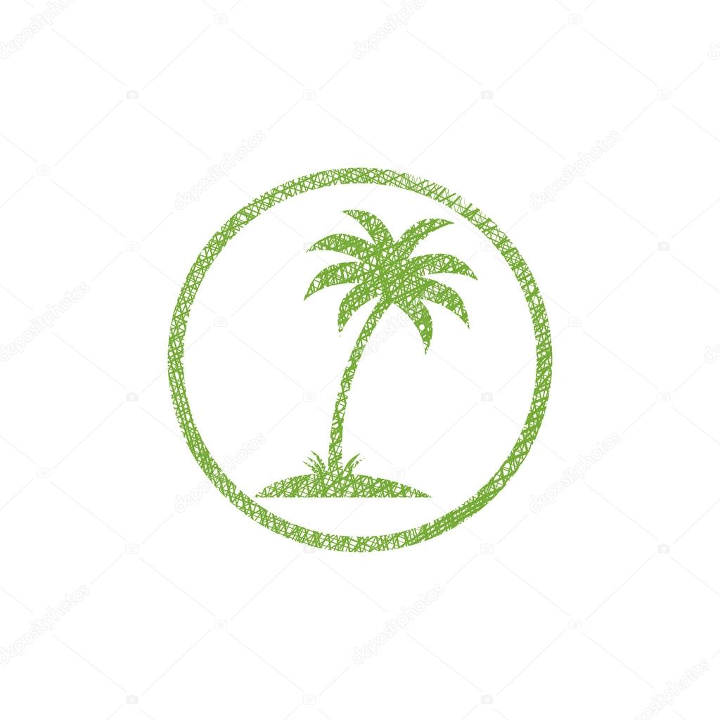 Palm tree vector icon with hand drawn lines texture.