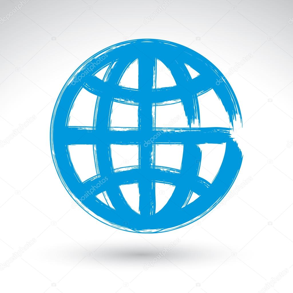 Hand-painted earth globe icon isolated on white background, simp