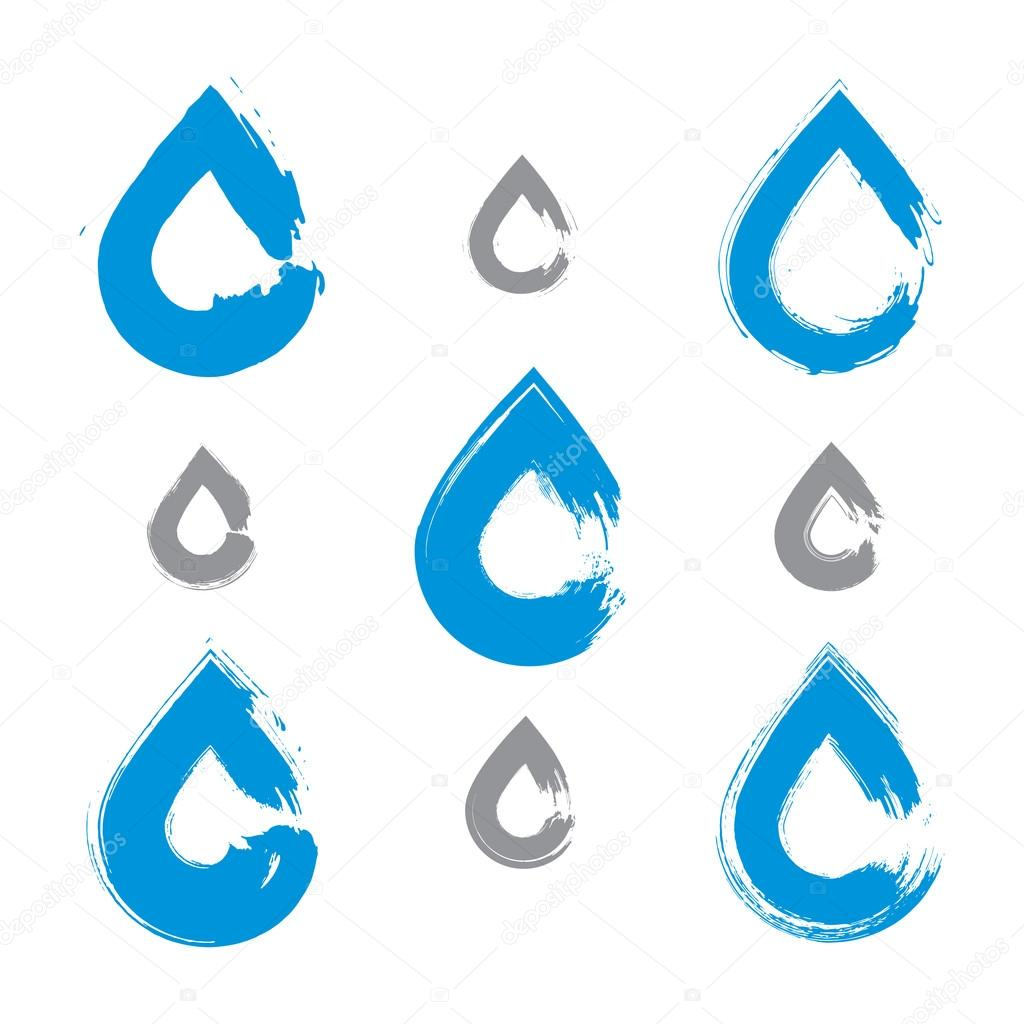 Set of hand-painted blue water drop icons isolated on white back