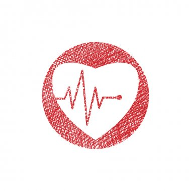 Cardiology icon with heart and cardiogram, vector icon with hand