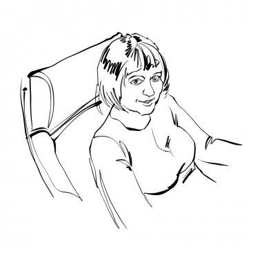 Black and white hand drawn illustration of a girl sitting in the